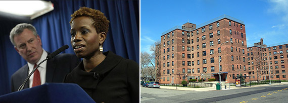 From left: Bill de Blasio and NYCHA chair Shola Olatoye and Hammel Houses in Queens