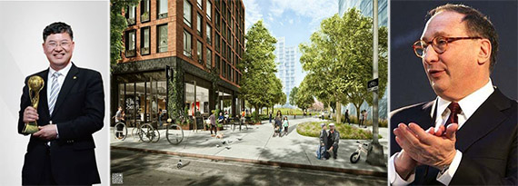 From left: Greenland chairman and president Yuliang Zhang, Pacific Park Brooklyn rendering and Bruce Ratner
