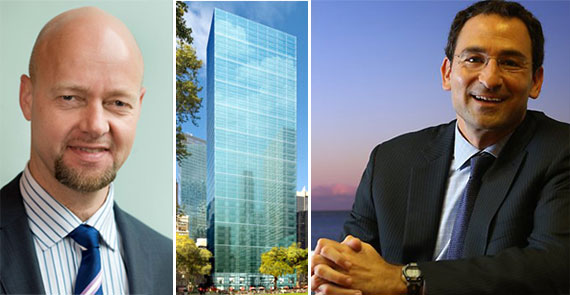 From left: Norges' Yngve Slyngstad, 1095 Sixth Avenue and Blackstone's Jonathan Gray