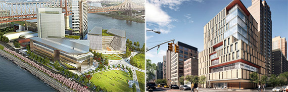 From left: Cornell Tech rendering and NYU College of Nursing at 433 First Avenue rendering