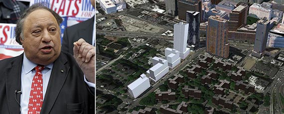 From left: John Catsimatidis and a rendering of 86 Fleet Place in Brooklyn