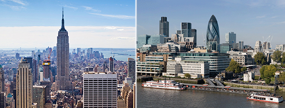 From left: New York City and London