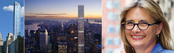 From left: luxury towers One57 and 432 Park Avenue and HPD Commissioner Vicki Been