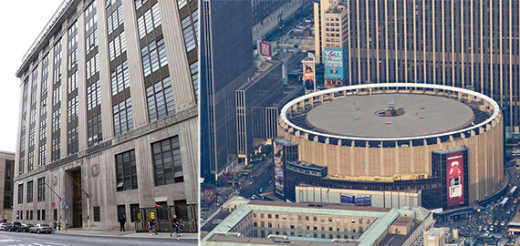 From left: the Morgan Post Office and Annex and Madison Square Garden