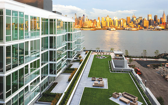 Lennar's Avenue Collection is a multi-phase condo complex on the Hudson River in Weehawken, where prices start at $800,000 for a one-bedroom unit