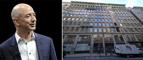 From left: Jeff Bezos and 7 West 34th Street
