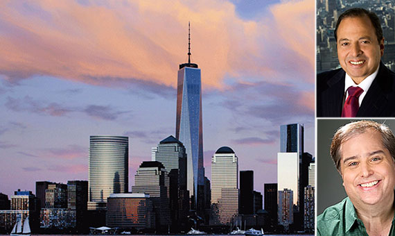 Clockwise from left: One World Trade Center, Douglas Durst and Anthony Singer