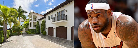 From left: Lebron James' miami home and Lebron James