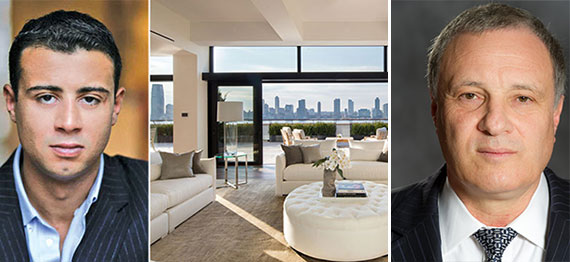 From left: Raphael DeNiro, the penthouse at 250 West Street and Elad CEO Udi Erez