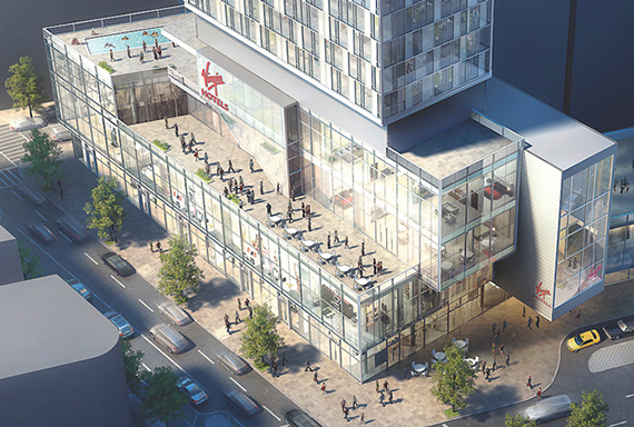 Rendering for the new Virgin Hotel at 1227 Broadway