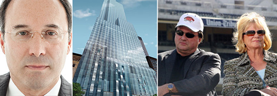From left: Gary Barnett, a rendering of One57 and John and Rebecca Moores