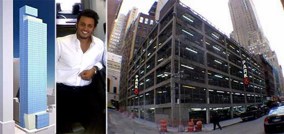 From left: A rendering of 111 Washington Street, Richard Ohebshalom and the development site
