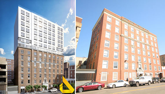 Left: Renderings for 285 Schermerhorn Street in Downtown Brooklyn Right: Existing structure