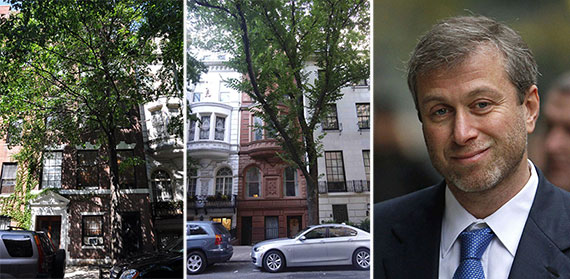 From left: 11 East 75th Street, 15 East 75th Street and Roman Abramovich