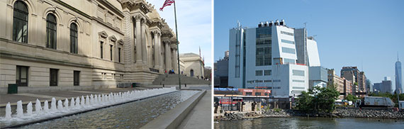 From left: the David H. Koch Plaza in front of the Metropolitan Museum of Art and the new Whitney Museum of American Art in the Meatpacking District