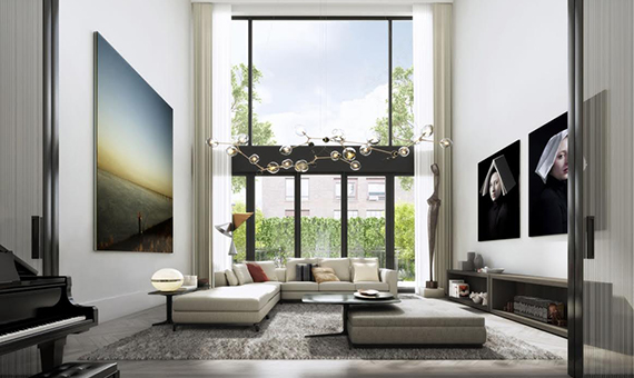 Rendering of the living room at 224 West 22nd Street