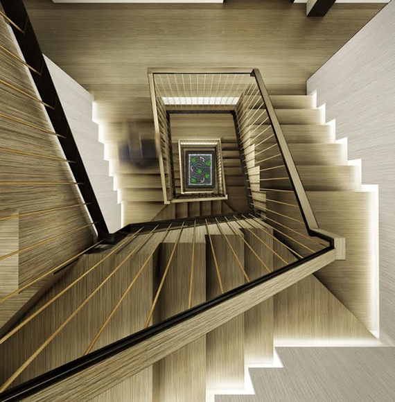 Rendering of the staircase at 224 West 22nd Street