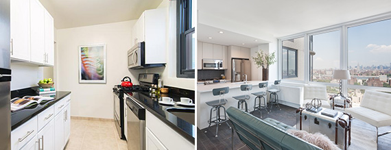 From left: A Murray Hill apartment at 245 East 40th Street rending for $3,225 and a DoBro apartment at 309 Gold Street renting for $2,860