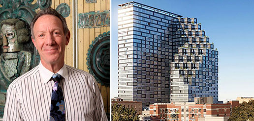 From left: Ian Bruce Eichner and a rendering of 1800 Park Avenue in Harlem (credit: ODA and SLCE)
