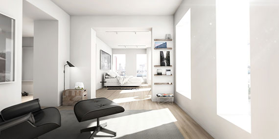 A rendering for penthouse E at One John Street in Dumbo