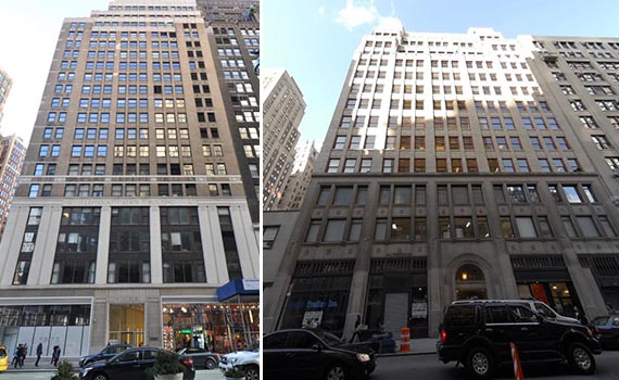 From left: 1375 Broadway and 31 Penn Plaza in Midtown