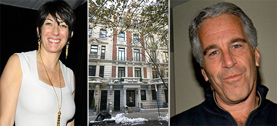 From left: Ghislaine Maxwell, 116 East 65th Street and Jeffrey Epstein