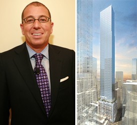 Joseph Sitt and a rendering of 520 Fifth Avenue (credit: Handel Architects)