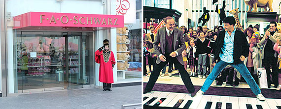 "From left: F.A.O. Schwarz on 59th Street and a scene at the store from the 1988 movie ""Big"""