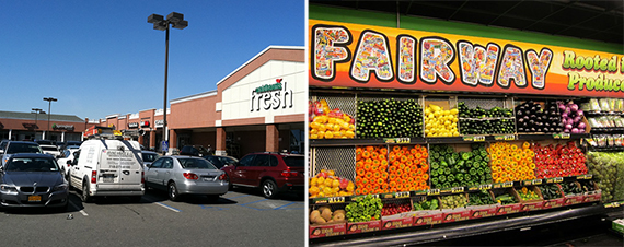 From left: The Georgetown Shopping Center in Bergen Beach, Brooklyn and a Fairway Market