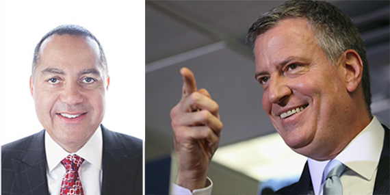 From left: Don Peebles and Bill de Blasio