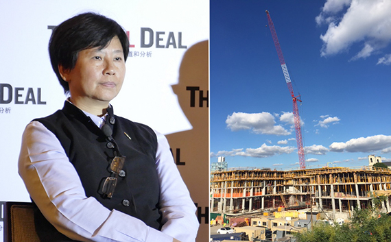 Ifei Chang and construction at Greenland Forest City's Pacific Park in Prospect Heights (credit: TerraCRG)