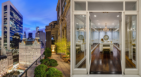 View from the terrace and inside the penthouse