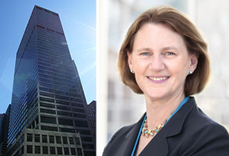 From left: Blackstone's headquarters at 345 Park Avenue and CalPERS' CEO Anne Stausboll