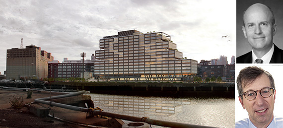 Rendering of WeWork building at the Brooklyn Navy Yard (credit: S9 Architecture) (inset: Boston Properties CEO Owen Thomas, top, Rudin Management chairman Bill Rudin, bottom (credit: STUDIO SCRIVO)) - See more at: https://therealdeal.com/blog/2015/07/30/cant-fuggedaboutit-boston-properties-bullish-on-brooklyn/#sthash.1fZ4rfTs.dpuf