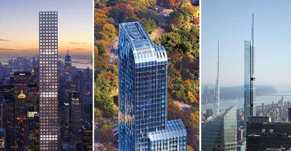 From left: 432 Park Avenue (Credit: DBOX), One57 (Credit: Extell Development) and Central Park Tower