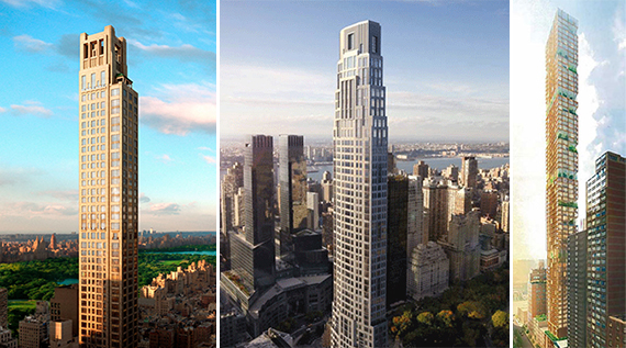 Renderings of 520 Park Avenue, 220 Central Park South and 3 Sutton Place