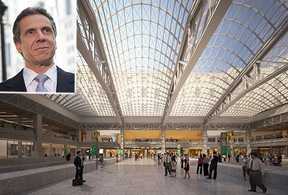 Rendering of proposed train hall (inset: Gov. Andrew Cuomo)