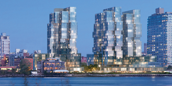 A rendering of the trio of buildings that former New York Governor Eliot Spitzer is planning in Williamsburg (credit: ODA New York)