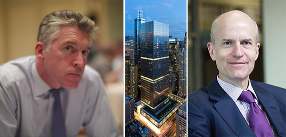 Al Jazeera America CEO Al Anstey (Credit: Mohamed Nanabhay on Flickr), a rendering of 250 West 55th Street and Owen Thomas