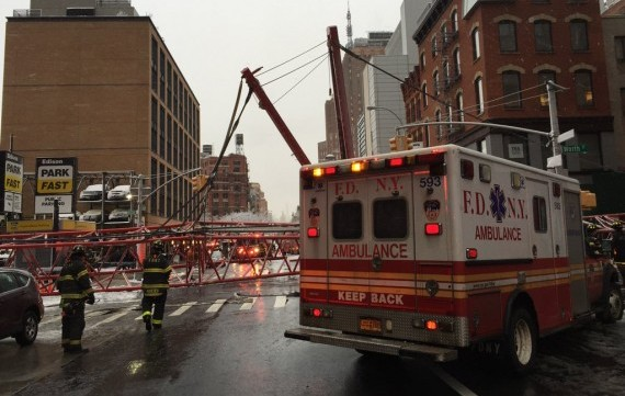 The collapsed crane on Worth Street in Tribeca (credit: FDNY)