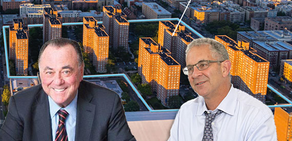 Fairstead Capital's Stephen Siegel, L+M's Ron Moelis (Credit: STUDIO SCRIVO) and Savoy Park in Harlem
