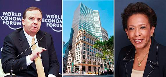 From left: HSBC's Stuart Gulliver, 452 Fifth Avenue in Midtown and Loretta Lynch