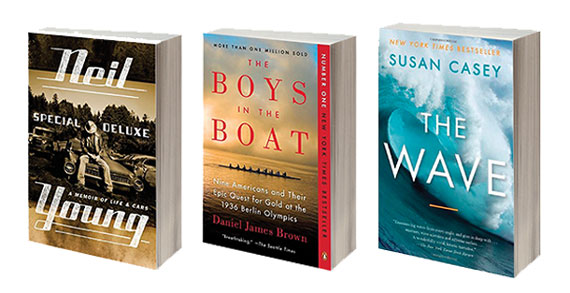 """""""Special Deluxe: A Memoir of Life and Cars"""" by Neil Young, """"The Boys in the Boat"""" by Daniel James Brown, and """"The Wave,"""" by Susan Casey"""