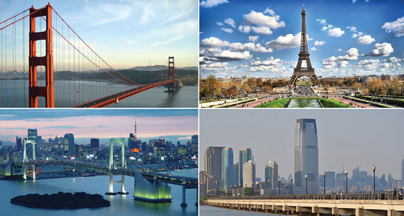 Clockwise from top left: San Francisco, Paris, Jersey City and Tokyo