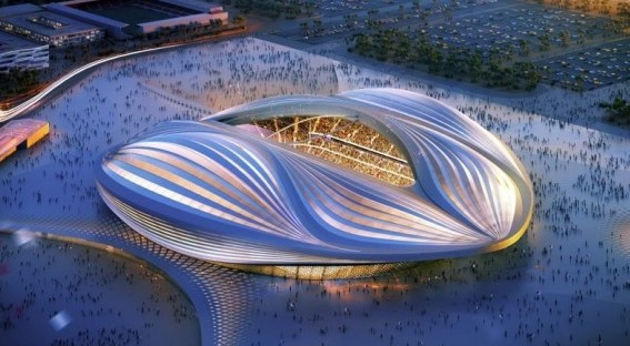 A rendering of the Al-Wakrah stadium in Qatar Credit: Zaha Hadid Architects