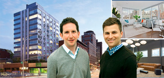 Jordan Vogel and Aaron Feldman with 55 Third Avenue in the East Village