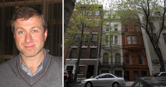From left: Roman Abramovich (credit: Mark Freeman via Wikipedia) and 11-15 East 75th Street on the Upper East Side