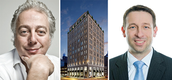 From left: Aby Rosen, a rendering of 11 Howard Street and Commerz Real's investment manager for hospitality Sven Noetling