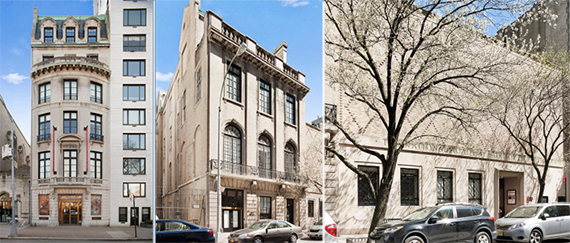 The three properties, at 1083 Fifth Avenue, 3 East 89th Street and 5-7 East 89th Street