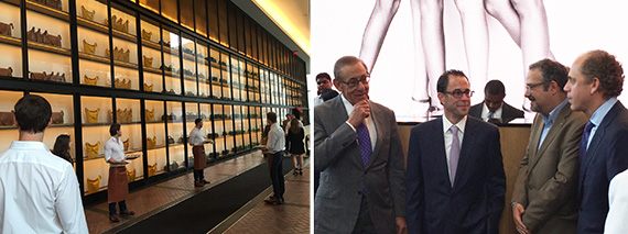 From left: Servers greet attendees at the opening of 10 Hudson Yards, where Stephen Ross, Jeff Blau, Hector Figueroa of 32BJ and Bruce Beal gathered to open the building